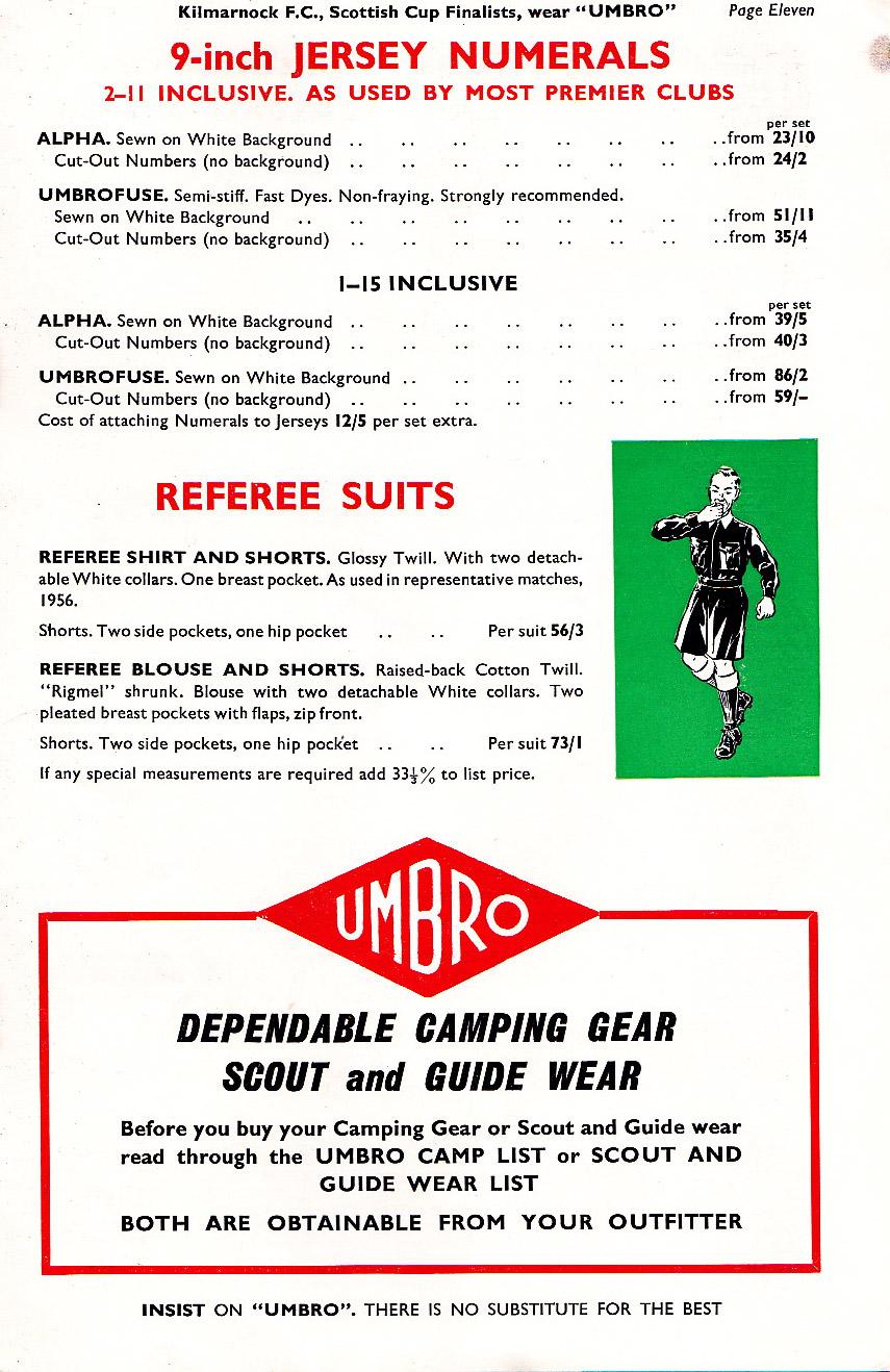 True Colours Football Kits 187 Umbro Catalogue 1957