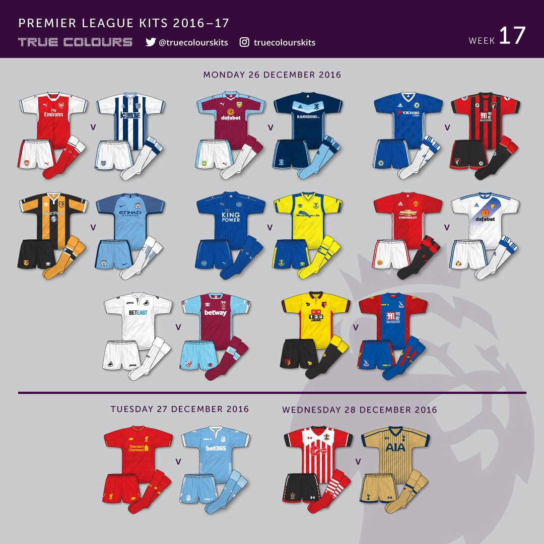 Premier League 17 Matchday Round Season 2018 2019: True Colours Football Kits » Week 17